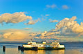Car ferry in the northwest docking at sunset Royalty Free Stock Images