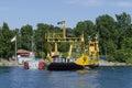 Car ferry unloading cars at skanssundet sodertalje sweden Royalty Free Stock Photography