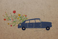 Car and flowers card on paper texture Stock Photo
