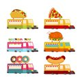 Car food truck set. Fast food car collection. taco and hot dog. Royalty Free Stock Photo