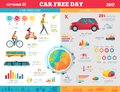 Car Free Day on September 22 Infographic Poster Royalty Free Stock Photo