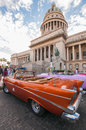 Car in front of havana capitol building cuba dec view el capitolio or national the seat cuban government until Stock Image
