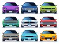 Car front view set. Urban traffic vehicle model cars icon transport color fast auto road city traffic driving set Royalty Free Stock Photo