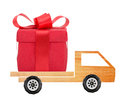 Car with a gift box on white background Royalty Free Stock Photography