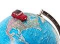 Car on a globe