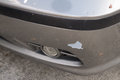 A car has a dented after an accident car accident damage Royalty Free Stock Photos