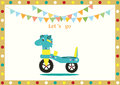 Car haul child classic color on kid card backgrounds,Vector illustrations Royalty Free Stock Photo