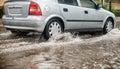 Car during heavy rain. Royalty Free Stock Photo
