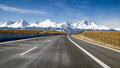 Car on highway and Tatra mountains, Slovakia
