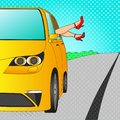 Car for holiday with legs out of the window. Female feet. Pop art vector. Imitation comic trip to the sea Royalty Free Stock Photo