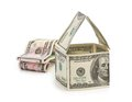Car and  house made of Dollars Royalty Free Stock Photo