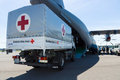 A car with the humanitarian aid of the German Red Cross Royalty Free Stock Photo