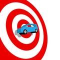 Car hunt shopping 3D auto on target bullseye