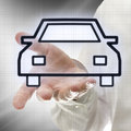 Car icon male hand presenting on virtual screen Royalty Free Stock Photography