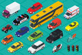 Car icons. Flat 3d isometric high quality city transport. Sedan, van, cargo truck, off-road, bus, scooter, motorbike