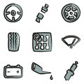 Car Icons Freehand 2 Color Royalty Free Stock Photo