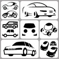 Car icons set illustration Stock Images