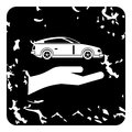 Car insurance concept icon, grunge style