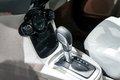 Car interior : Automatic transmission gear shift and air conditioning button inside car Royalty Free Stock Photo