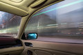 Car interior on driving blurred night lights Royalty Free Stock Photo