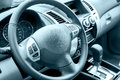 Car interior steering wheel the multifunction in Stock Photography