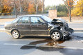 Car involved in traffic accident a black Royalty Free Stock Images