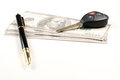 Car key business pen and money on white  background  for Royalty Free Stock Photo