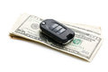 Car key with dollars Stock Photos