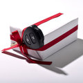 Car key and gift box isolated on white background Stock Photos