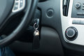 Car key in ignition start lock Royalty Free Stock Photo