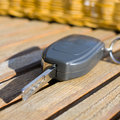 Car key on a wooden table Stock Images
