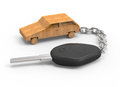 Car key with wooden toy Royalty Free Stock Photography