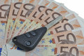 Car keys on 50 Euro bills background Royalty Free Stock Photo