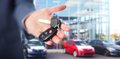 Car keys hand with a transportation driving Royalty Free Stock Photo