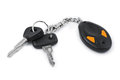 Car keys and remote control isolated on white background Stock Photography