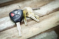 Car Keys on wood background Royalty Free Stock Photo