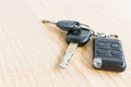 Car keys on a wooden table Royalty Free Stock Photo