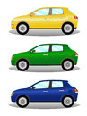 Car kit hatchback in three colors Royalty Free Stock Photo