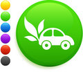 Car and leaf icon on round internet button Stock Photo