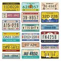 Car license plates. Automobile registration numbers vector template letters Royalty Free Stock Photo