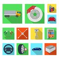 Car, lift, pump and other equipment flat icons in set collection for design. Car maintenance station vector symbol stock Royalty Free Stock Photo
