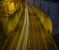 Car lights in the tunnel. Royalty Free Stock Photo