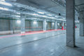 Car lights in the underground city parking. Royalty Free Stock Photo