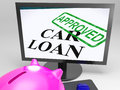 Car loan approved shows vehicle credit confirmed showing Stock Photos
