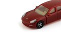 Car macro red toy on a white background Royalty Free Stock Photos