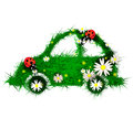 Car made grass flowers ladybugs Royalty Free Stock Photo