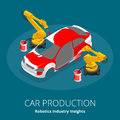 Car manufacturer or car production concept. Robotics Industry Insights. Automotive and electronics are top industry