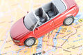 Car on the map Royalty Free Stock Photo