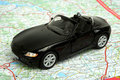 Car on map Royalty Free Stock Photo