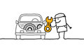 Car mechanic hand drawn cartoon characters Royalty Free Stock Photography